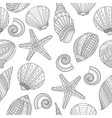 Sea shells Black and white seamless pattern for vector image vector image