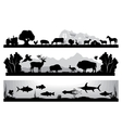 set of black and white landscapes wildlife farm vector image