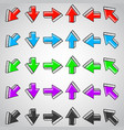 straight arrows colored set hand drawn doodles vector image vector image