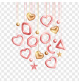 valentines day design with hanging 3d gold pink vector image