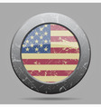 vintage metal button with flag of USA - grunge vector image vector image