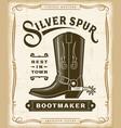 vintage western bootmaker label graphics vector image vector image