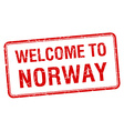 welcome to Norway red grunge square stamp vector image vector image