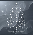 white fir tree made connected lines and dots vector image vector image