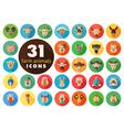 Farm animals flat icons set head vector image