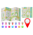 abstract city map with location markers and icons vector image
