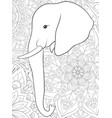 Adult coloring bookpage a cute elephant image