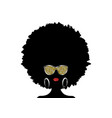 african woman afro curly hair and gold sunglasses vector image vector image