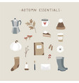 autumn essentials set of cute hand drawn fall vector image