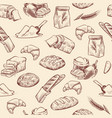 bakery seamless pattern bread croissant pastries vector image