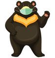 black bear cartoon character wearing mask vector image vector image