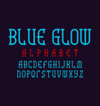 blue glow alphabet neon light font isolated vector image