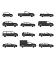 car icons black vehicle side view silhouettes vector image