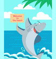 cartoon shark poster sharks typography kids vector image