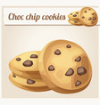 choc chip cookie icon cartoon vector image vector image