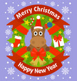 christmas and new year background card with horse vector image vector image