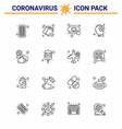 corona virus 2019 and 2020 epidemic 16 line icon vector image vector image