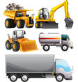 Different kinds of tractors and truck vector image vector image
