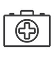 first aid kit box line icon medicine vector image vector image