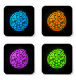 glowing neon pizza icon isolated on white vector image vector image