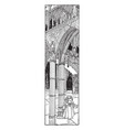 gothic church interior is found in novelist vector image vector image