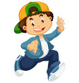 happy boy character on white background vector image vector image