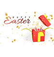 happy easter day background with confetti and vector image vector image
