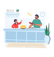 happy father cooking pancakes with daughter in vector image vector image