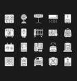 hvac white silhouette icons set vector image vector image