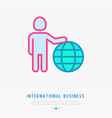 international business man holding globe vector image vector image