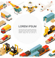 isometric logistics and transportation template vector image vector image