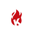k letter fire flame logo icon vector image vector image