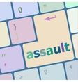 Keyboard with enter button assault word on it vector image vector image