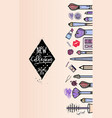 makeup artist banner new collection background vector image vector image