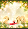 merry christmas background with 2019 and magic box vector image vector image