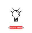 minimal editable stroke bulb icon vector image