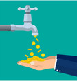 money coins flows to hand from tap vector image