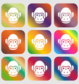 Monkey icon sign Nine buttons with bright vector image