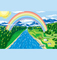 mountain landscape and rainbow vector image