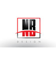 nb n b logo letters with red and black colors and vector image vector image