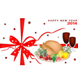 New Year Gift Card with Christmas Dinner vector image vector image