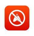 no moth sign icon digital red vector image vector image