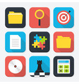 Office themed squared app icon set vector image vector image