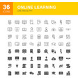 online learning line web glyph icons vector image vector image