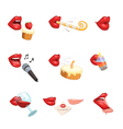 Party Lips Icon Set vector image