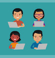 people are sitting at laptop on internet social vector image vector image