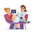 pregnant woman visiting doctor ultrasound scan vector image