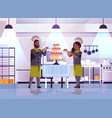 professional pastry chefs couple decorating tasty vector image vector image