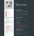 professional personal resume cv template vector image vector image