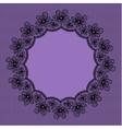 Round black lacy frame on violet background vector image vector image